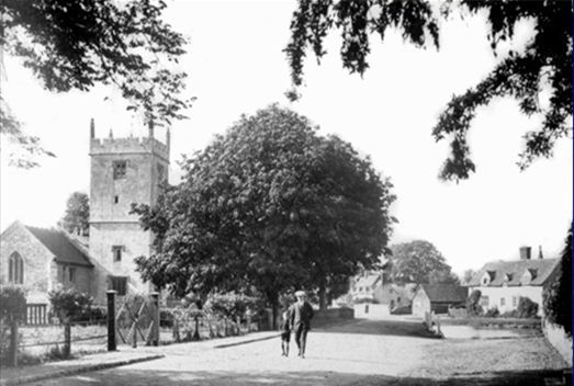 Sunningwell church and pond 1907